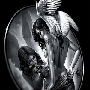 Sexy angels by OG Abel #OGAbel #art #chicano #blackandgrey #angel
