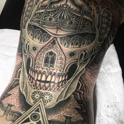 Jondix #Jondix #blackandgrey #dotwork #linework #mandala #pattern #sacredgeometry #skull #death #cathedral #stainedglass #windows #architecture #landscape #darkart