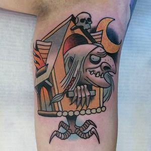 Baba Yaga tattoo by Bartek Kos #babayaga #BartekKos #witch #hut