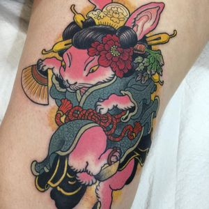 Tattoo by Wendy Pham #WendyPham #TaikoGallery #WenRamen #newtraditional #color #Japanese #mashup #bunny #rabbit #animal #fan #kimono #peony #carrot #pattern #pink