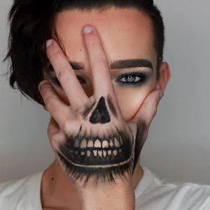 Death by James Charles (via IG-jcharlesbeauty) #Covergirl #makeupartist #mua #halloween #makeup #skull #skeleton #JamesCharles