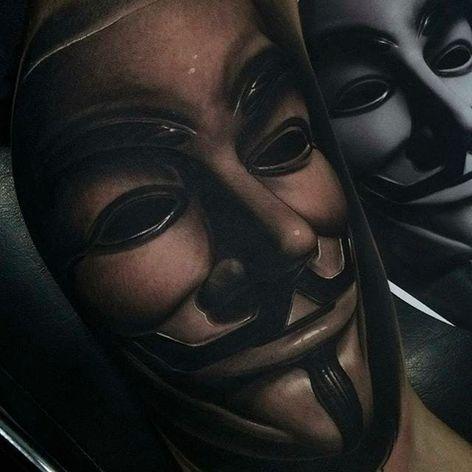 Super cool Guy Fawkes mask from V for Vendetta! Tattoo by Fredy Tomas. #FredyTomas #ExoticTattoo #realistictattoo #V #guyfawkes #VforVendetta