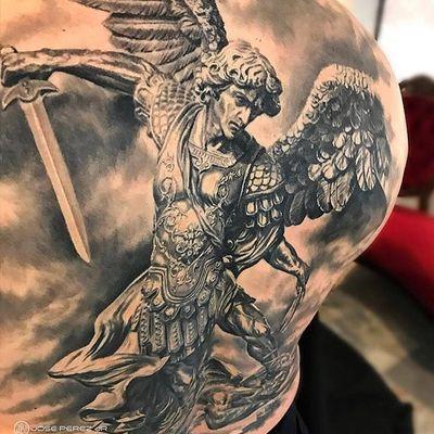Tattoo by Jose Perez Jr #JosePerezJr #selftaughttattooartists #blackandgrey #realism #realistic #sculptural #sculpture #stmichael #archangel #angel #wings #sword #armor #warrior
