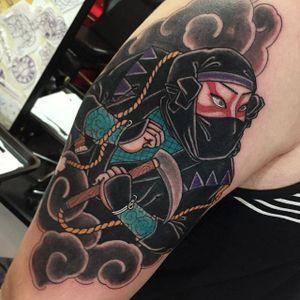 Ninja Tattoo by Alejandro Lopez #ninja #ninjatattoo #neotraditionalninja #neotraditional #neotraditionaltattoo #neotraditionaltattoos #neotraditonalartist #AlejandroLopez