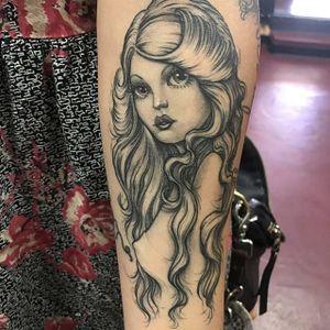 Pretty lady by Ben Grillo #BenGrillo #blackandgrey #lady #ladyhead #portrait #tattoooftheday
