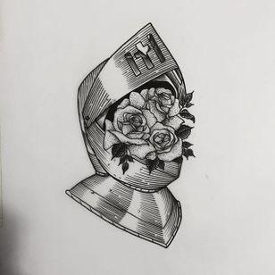 Armor by Daniel Teixeria (via IG-daniel_kickflip_tattooer) #surreal #dark #linework #flash #flashfriday #DanielTeixeira