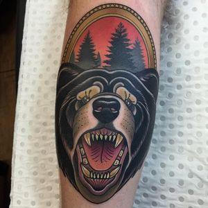 Neo Traditional Bear Tattoo by Drew Shallisn #NeoTraditionalBear #NeoTraditional #BearTattoos #BearTattoo #DrewShallis #bear