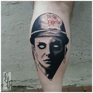 Blackwork tattoo by Edgar Lanz #EdgarLanz #contemporary #blackwork #graphic #surrealistic #mashup