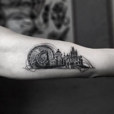 Charles Bridge tattoo by Serkan Demirboga #SerkanDemirboga #architecturetattoos #blackandgrey #realism #realisti #hyperrealism #surreal #clock #buildings #bridge #CzechRepublic #mashup #tattoooftheday