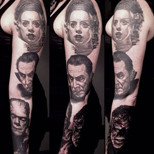 A sleeve full of all the classic icons of black and white horror flicks by Nikko Hurtado (IG—nikkohurtado). #BrideofFrankenstein #color #Dracula #Frankensteinsmonster #NikkoHurtado #portraiture #realism #Wolfman