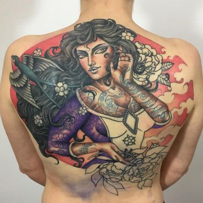 Backpiece cover up tattoo by Guen Douglas #GuenDouglas #coveruptattoos #wip #color #backpiece lady #tattooedlady #babe #swallow #bird #peony #snake #flowers #clouds #cherryblossoms #tattoooftheday