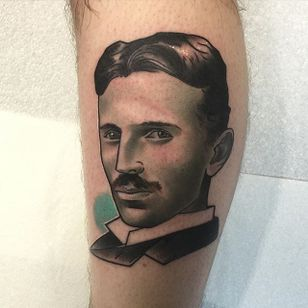 Nikola Tesla Tattoo by Brenden Jones #NikolaTesla #NeoTraditional #NeoTraditionalPortrait #Portrait #PopCulture #BrendenJones