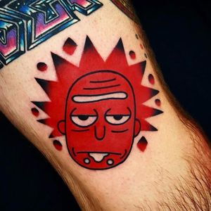 Wrecked Rick by Uve #Uve #uvetattoo #newtraditional #red #color #popart #rickandmorty #rick #tvshow #drunk #tattoooftheday