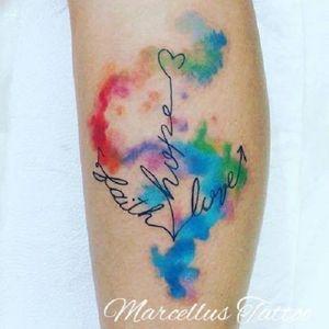 """Ancora com as palavras """"Fé, esperança e amor"""" #ancora #anchor #MarcellusDias #teologo #aquarela #watercolor #brasil #portugues"""