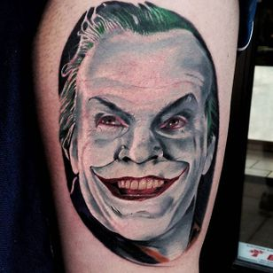 Jack Nicholson Joker Tattoo by Christopher Bettley #Joker #Portrait #PortraitTattoos #ColorPortraits #PortraitRealism #ChristopherBettley