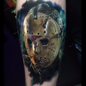 Super realistic Jason by @paulackertattoo #PaulAcker #horror #jasonvoorhees #fridaythe13th #scary