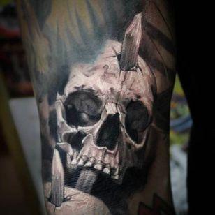 Gruesome skull tattoo done by Anastasia Forman. #AnastasiaForman #realistic #blackandgray #skull #spike