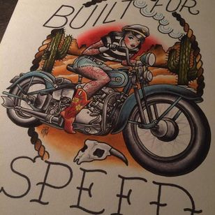 Built for speed indeed via Howlin' Wolf (IG—howlinwolftattoo). #bikerbabe #flashart #HowlinWolf #pinup #traditional
