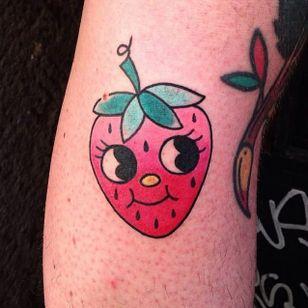 Kawaii strawberry tattoo by Numi #Numi #strawberry #berry #fruit #kawaii