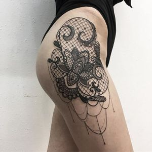 Lacy lotus flower tattoo by Vlada Shevchenko. #VladaShevchenko #blackwork #feminine #women #floral #flower #lace #lacy #lotus #jewel