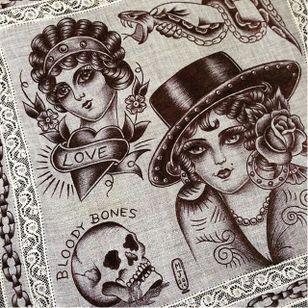 Bloody Bones via instagram maryjoytattoo #handkerchief #flashart #art #skull #women #heart #maryjoy