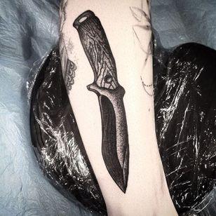 Dagger Tattoo by Marcel Birkenhauer #dagger #daggertattoo #blackwork #blackworktattoo #blackink #blackworkartist #berlin #MarcelBirkenhauer