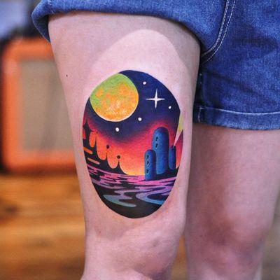 Landscape tattoos by David Peyote #DavidPeyote #landscapetattoo #color #space #galaxy #star #magic #architecture #rainbow #surreal #imaginary #tattoooftheday