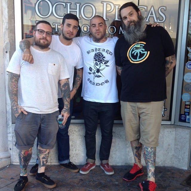 Betancourt (second from left) and the rest of the Ocho Placas Tattoo family. #JavierBetancourt #OchoPlacas #tattooartist #artist