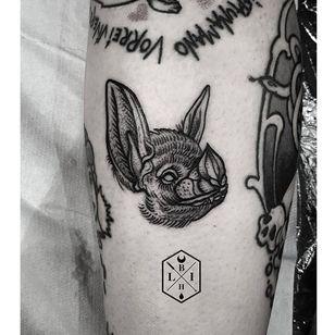 Blackwork bat tattoo by Erica Bruschi. #filler #bat #blackwork #horror #dark