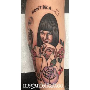 Neo traditional Mia Wallace tattoo by Megan Fell. #neotraditional #MiaWallace #femmefatale #classic #pulpfiction #cultfilm #film #movie #QuentinTarantino #moviecharacter #femmefatale #portrait