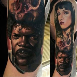 Pulp Ficiton Tattoo by Christopher Bettley #PulpFiction #Portrait #PortraitTattoos #ColorPortraits #PortraitRealism #ChristopherBettley