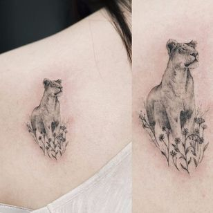 Delicate lioness tattoo by Sol #lioness #lion #Sol #small