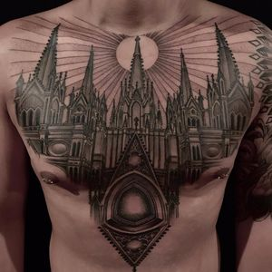 Cathedral by Anderson Luna #AndersonLuna #blackandgrey #linework #dotwork #architecture #cathedral #church #realism #realistic #sun #stainedglass #building #city #tattoooftheday