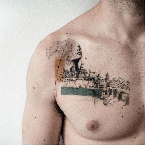 Graphic tattoo made at La Bottega dell'Arte #labottegadellarte #graphic #contemporary #architecture