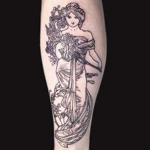 Alphonse Mucha tattoo by Jessi Lawson #jessilawson #ArtNouveautattoo #linework #fineline #wip #AlphonseMucha #lady #flowers #floral