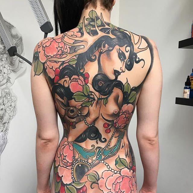 Backpiece Tattoo by Jake Danielson #neotraditional #neotraditionaltattoo #neotraditionaltattoos #neotraditionalartist #JakeDanielson