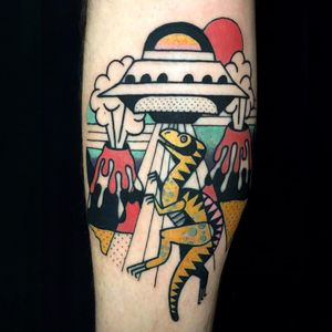 A comet didn't kill the dinosaurs, they just found some new friends and got the hell out of here. Tattoo by Luca Font (Via IG - lucafont) #LucaFont #art #abstract #cubism #fineart #surrealism