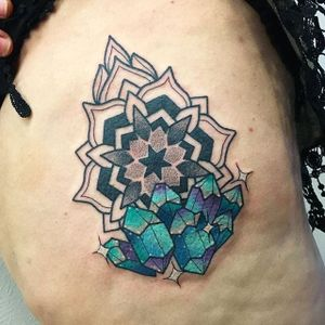 Crystal Tattoo by Blayne Bius #crystal #contemporary #bold #colorful #mixstyle #mandala #BlayneBius