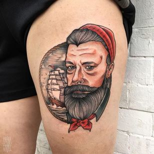 Old Sailor Tattoo by Magda Hanke #sailor #sailortattoo #neotraditional #neotraditionaltattoo #neotraditionaltattoos #neotraditionalartist #MagdaHanke