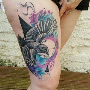 Photo from Instagram @angieinlove05 - tattoo by Beynur Kaptan #BeynurKaptan #bird #watercolour #LiverpoolTattooConvention