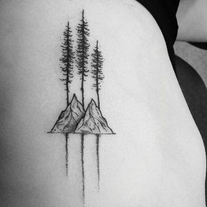 Simple trees and mountains, by Thomas Eckeard (via IG—thomasetattoos) #dotwork #pointillism #blacktattoo #thomaseckeard #nature #natureinspired