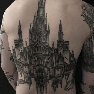 Gothic Double Cathedral tattoo by Zac Scheinbaum #ZacScheinbaum #blackandgrey #illustrative #architecture #building #cathedral #church #stainedglass #steeples