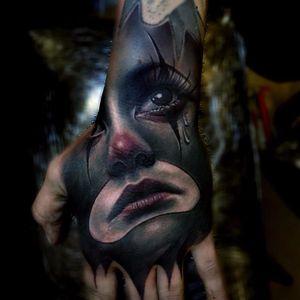 Sad Clown Heartbreak by Sam Barber #sambarber #realism #realistic #hyperrealism #payasa #portrait #lady #sadclown #clown #tears #teardrop #eyes #color #tattoooftheday