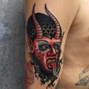 Twisted traditional devil tattoo #JoshDavis #traditional #devil #deviltattoo #traditionalportrait