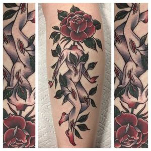 Abstract by Annie Alonzi (via IG-a_alonzi) #traditional #color #triplecrowntattoo #austin #convention #anniealonzi