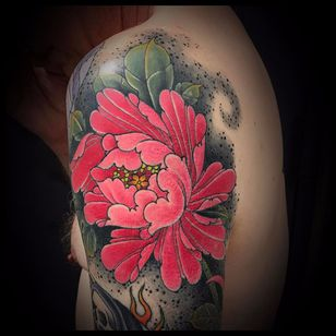 Pink peony by Matt Beckerich #MattBeckerich #Japanese #color #mist #dust #dots #leaves #pink #peony #fire #flowers #nature #tattoooftheday