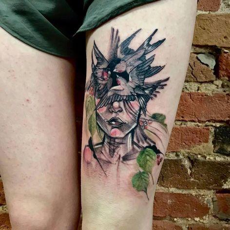 Mais um belo trabalho de Falka Art #FalkaArt #gringa #watercolor #aquarela #sketchstyle #estilorascunho #nature #natureza #woman #mulher #birds #pássaros #folhas #leafs