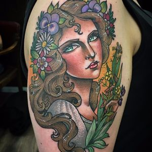 Natural goddess by Guen Douglas #GuenDouglas #neotraditional #color #pinup #lady #portrait #flowers #sparkles #leaves #pansy #daisy #leaves #floral #hand #nature #tattoooftheday