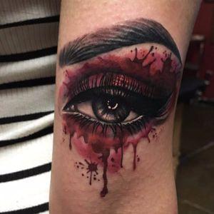 Realistic black and grey/color mix eye tattoo #blackandgrey #color #realism #eye #realistic #makeup #realisticeye #meganmassacre
