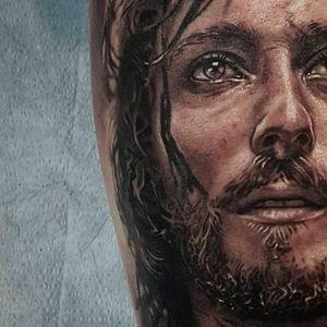 Jesus of Nazareth tattoo by Bryan Merck. #BryanMerck #Jesus #tattoo
